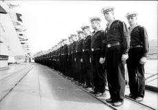 Russian sailors on a Russian cruiser in Stockholm