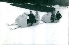 People enjoying on vacation, riding on a sled. 1965