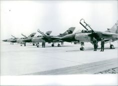 The first of 322 tornado fighter planes, made in America for west Germany, arrived on an airfield at Erding, near Munich. 1982.