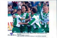 Hammarby's victory shooter Hans Eskilsson is celebrated by his teammates after the 1-0 win against Trelleborg.