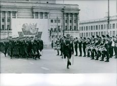 A special Guard of Honour passing the review stand in Victory Square, Warsaw. 1983.
