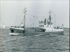 A Russian fishing boat with antennas for heavy radio equipment.