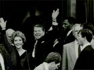 US President Ronald Reagan and his wife Nancy at an official visit to Paris