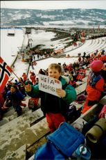 The spectator catcher at the jumpback during the Olympics in Lillehammer