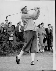 Golf player Bobby Locke during the British Open in 1953