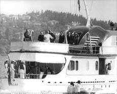 Pope Paul VI on a yacht.