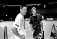 Henrik Holm and Stefan Edberg during Stockholm Open 1992