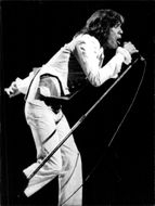 Mick Jagger on stage during a Rolling Stones concert in London