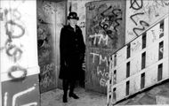 Female police are wearing a graffiti staircase