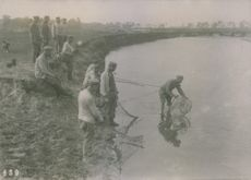 German soldiers fish for provisions in Poland during World War I, 1915.