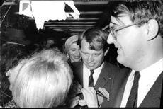 "Robert Francis ""Bobby"" Kennedy surrounded by his supporters."