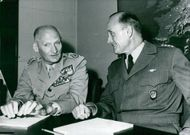 Viscount Montgomery interprets with General Alfred D. Gruenther