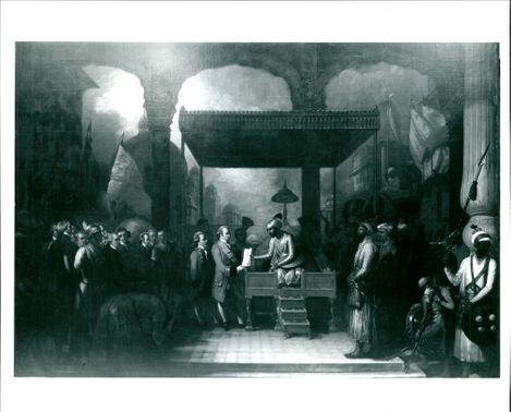 'Shah 'Alam conveying the grant of the Diwani to Lord Clive' painting by Benjamin West, created in 1818