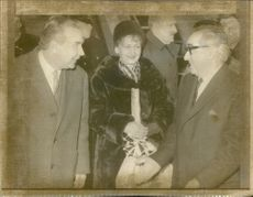 Mr. Adam Rapacki (L) and his wife being welcomed by Lord George Brown