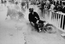 An accident during the Paris-London motor racing. 1959