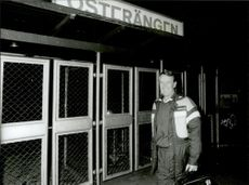 Football coach Nisse Andersson outside the training facility.