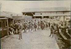 """Soldiers gathered in the street during the Tyskland war, 1904. """"Japan troops, Nagsaki on __ Korea""""1904"""