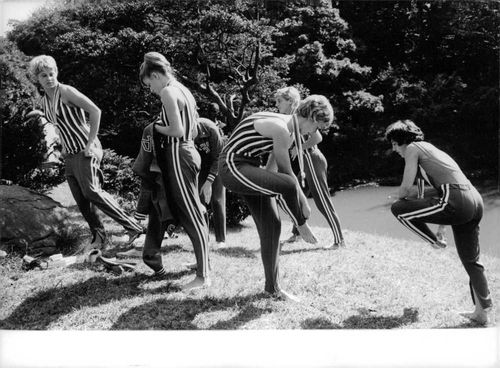 Group of swimmers getting ready for the competition.