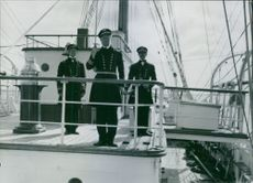 "Navy officers in ship during a scene from the film: ""The Great John Ericsson"" The film stars: Stars: Victor Sjöström, Märta Ekström, Anders Henrikson"