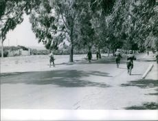 Soldiers running on the road, holding gun.