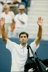 Pete Sampras after qualifying for the eighth round in the US Open.