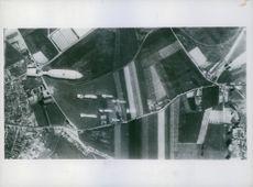 Bombs loosed from a Stirling on to a target.