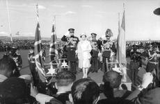 Princess Anne standing with soldiers.