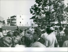 People gathered in the street. 1972