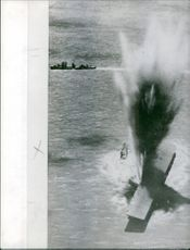 Vintage view of bombings in the sea during the Vietnam war. Photo taken on June 12, 1962.