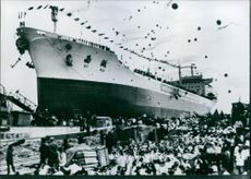"""1977  Balloons go up in Talien Hungchi Shipyard, North East China, for the launching of China's first 50,000-ton oil tanker, the """"Hsihu""""."""