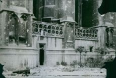 A Cathedral in Belgium showing damage by the Germans.