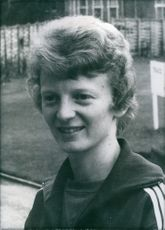 Portrait of british athlete Pat Lowe, 1972.