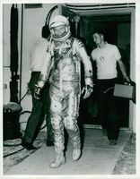 going up space man suit.