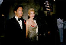 Sharon Stone and husband Phil Bronstein arrive at the Moluin de Mougins charity dinner in favor of AIDS research