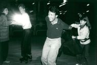 Dustin Hoffman and daughter Jennifer when they celebrate her birthday on the Roxy Roller Rink
