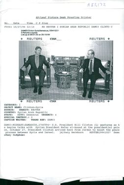 Hafez al-Assad with Bill Clinton.