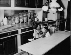 Roger Vadim's wife in kitchen with a baby.