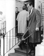 """Edward Moore """"Ted"""" Kennedy down stairs."""