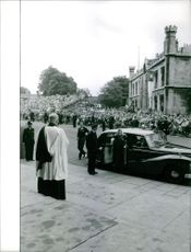 Prince Edward, Duke of Kent greeted by a Priest as he arrived for his wedding.