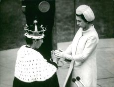 Prince Charles with Queen Elizabeth at his Investiture as Prince of Wales, 1969.