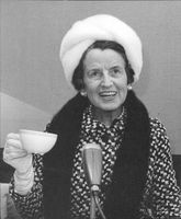 Portrait image of Rose Kennedy taken during a press conference during her visit to Sweden.