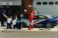 Rickard Rydell makes a crash stop during the BTCC competition at Brands Hatch.