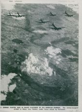 A German fighter base in France plastered by Big American bombers.  - Sep 1943