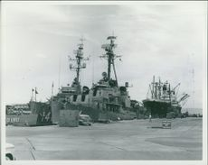 Wharf bravo showing destroyers and SS Trans-Caribbean.