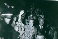 Princess Benedikte with Prince Richard of Sayn Wittgenstein-Berleburg waving to the crowd and smiling, 1967.