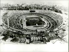 Helicopter image over a crowded stadium during the Olympic Games