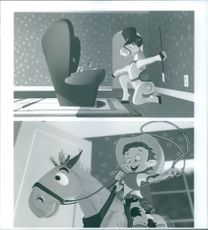 """Two scenes from the animated short film, """"Off His Rockers""""."""