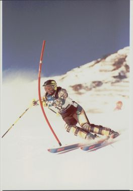 World Cup in slalom. Annick Bonzon on the slopes