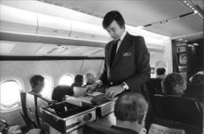 British Airways - Shuttle to Manchester. Purser GD Hedley takes up the payment in the air