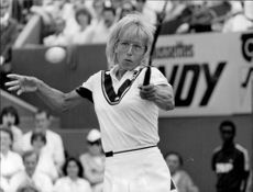 Martina Navratilova plays match at Stade Roland Garros